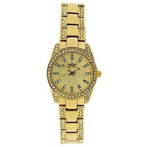 Neue Softech Diamante Gesicht Armband Designer Gold Analog Uhr Quarz