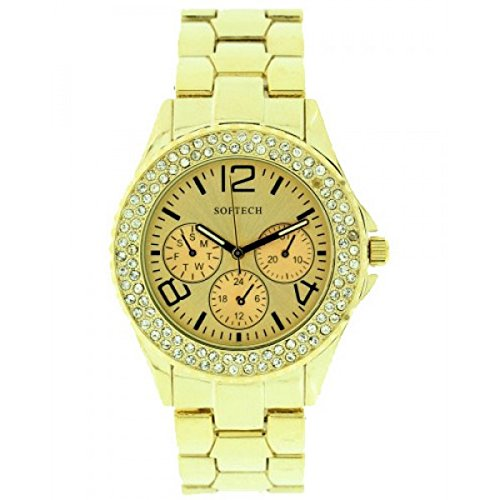 Softech Frauen s Gold Plated Diamante Luenette Metall Handgelenk Watch Analog Quarz Falten ueber Verschluss Extra Batterie