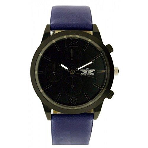 Softech Maenner s Black Dial Gesicht dunkel blau PU Leder Strap Chronograph Handgelenk Watch Analog Quarz mit eine Extra Batterie