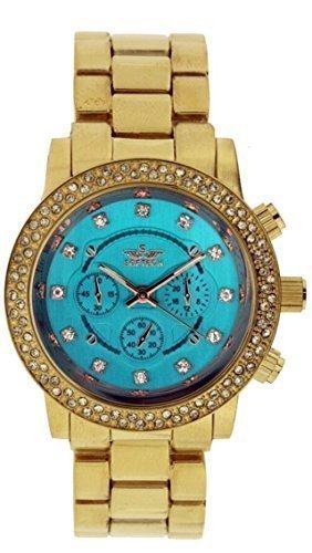 Neue Softech Gold mit Tuerkis Blau Gesicht Diamante Armband Armbanduhr