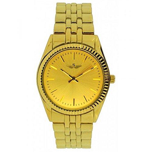 SOFTECH Frauen s Gold Luenette Armband Metall Armbanduhr Analog Quarz Falte ueber Spange zusaetzlichen Akku