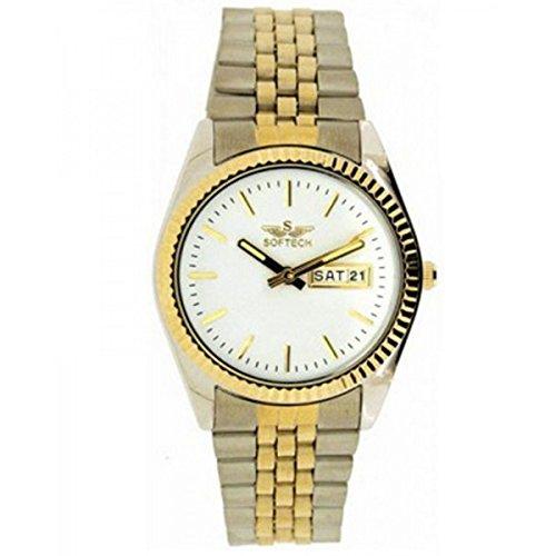 Softech Maenner s Chrom Gold plattiert Tag Datum weisses Ziffernblatt Wrist Watch Analog Quarz mit zusaetzlichen Akku