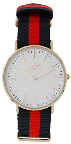 Softech Unisex Silber vergoldet rot schwarz Nylon Strap Wrist Watch Analog Quarz mit einem zusaetzlichen Akku