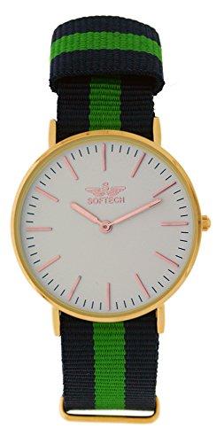 Softech vergoldet Unisex Rose gruen dunkelblau Nylon Strap Wrist Watch Analog Quarz mit einem zusaetzlichen Akku