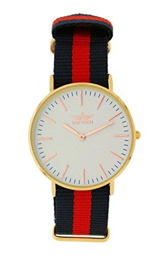 Softech vergoldet Unisex Rose rot schwarz Nylon Strap Wrist Watch Analog Quarz mit einem zusaetzlichen Akku