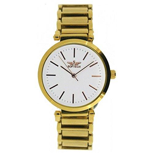 Softech vergoldet Zifferblatt Strap weisses Gesicht Armband Wrist Watch Analog Quarz mit einem zusaetzlichen Akku