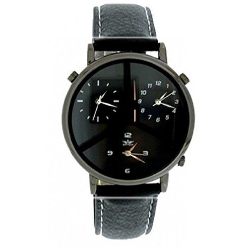 Softech Maenner s drei Zeitzone schwarz Leder Armband Pistole schwarz Zifferblatt Analog Uhr Quarz