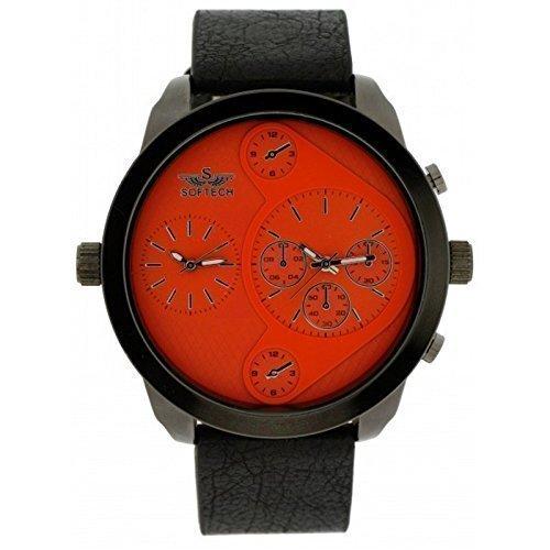 Softech Maenner s zwei Zeitzone schwarzes Leder Armband Orange Gesicht Analog Uhr Quarz