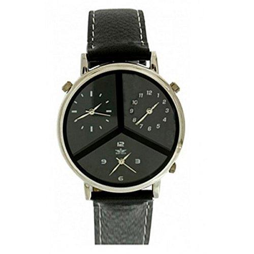 Softech Maenner s drei Zeitzone schwarzes Leder Armband Silber Zifferblatt Analog Uhr Quarz