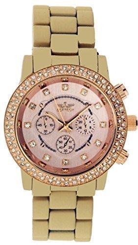 Neu Softech Beige mit Gold Ziffernblatt Armband Mit Armbanduhr Mit Einem Zusaetzlichen Akku