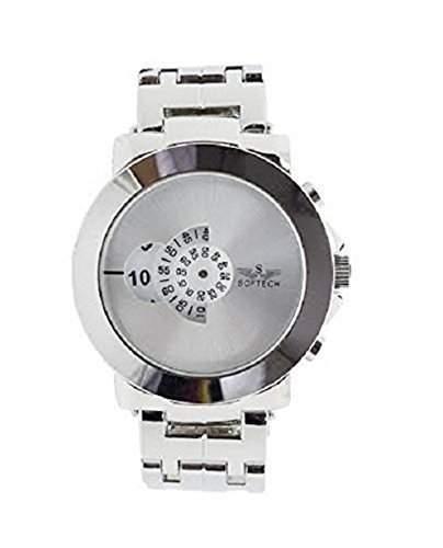 SOFTECH Mens Designer Retro Silber Jump Hour Disc Edelstahl-Armband-Uhr