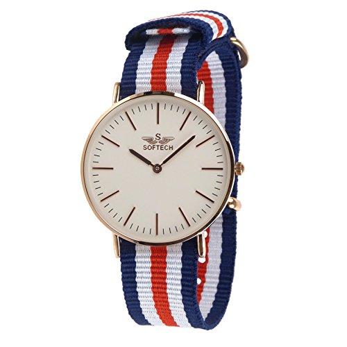 Stylischer Herren Klassische NATO Armbanduhr von Softech Nylon Military bicolor Slim weiss blau rot rose gold Fall