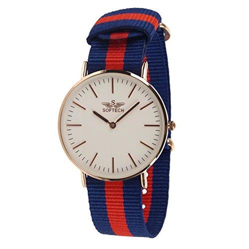 Stylischer Herren Klassische NATO Armbanduhr von Softech Nylon Military bicolor Slim blau rot rose gold Fall