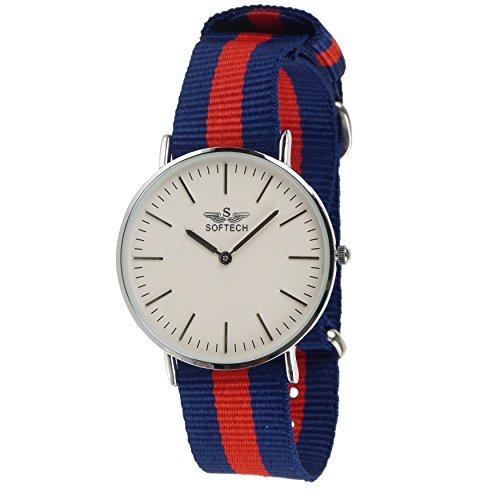 Stylischer Herren Klassische NATO Armbanduhr von Softech Nylon Military Zweifarbige Schutzhuelle Slim blau rot silber