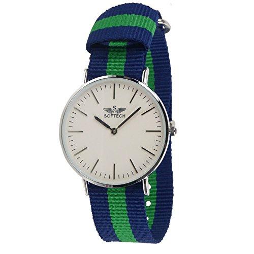 Stylischer Herren Klassische NATO Armbanduhr von Softech Nylon Military Zweifarbige Schutzhuelle Slim blau gruen silber