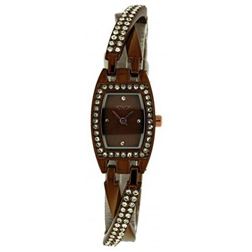 Softech Damen braun vergoldet Diamante ueberqueren Strap Jeweled Bracelet Watch Analog Quarz zusaetzlichen Akku