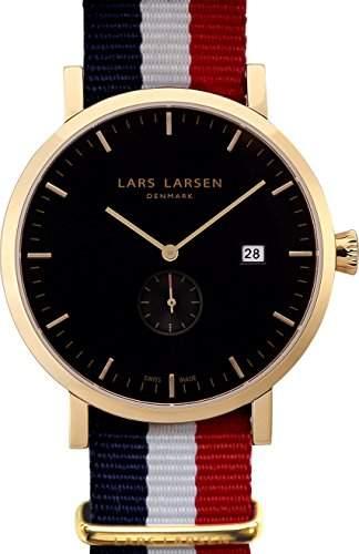 Lars Larsen Sebastian MenHerren Quarzuhr mit schwarzem Zifferblatt Analog-Anzeige und Textilband 131GBAN multicolor