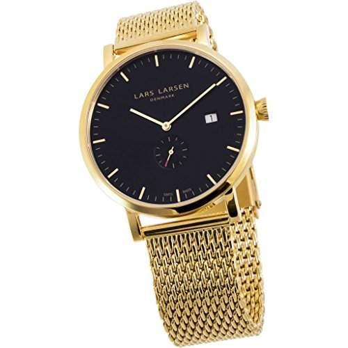 Lars Larsen Sebastian Herren Armbanduhr Analog Quarz Edelstahl Gold beschichtet 131GBGM