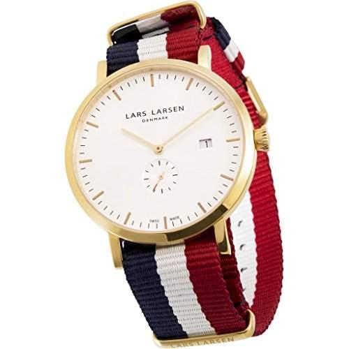 Lars Larsen Sebastian MenQuarz-Uhr mit weissem Zifferblatt Analog-Anzeige und Textilband 131GWAN multicolor