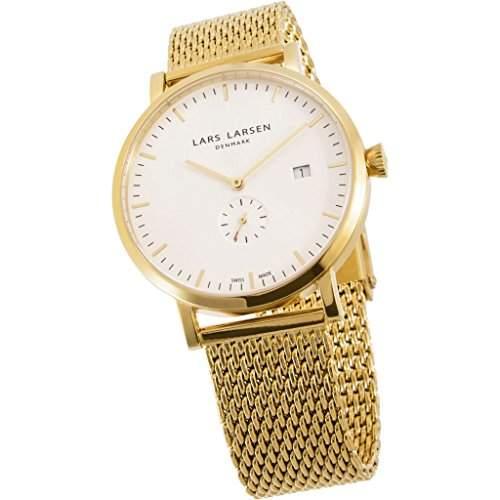 Lars Larsen Sebastian Herren Armbanduhr Analog Edelstahl Gold beschichtet 131GWGM