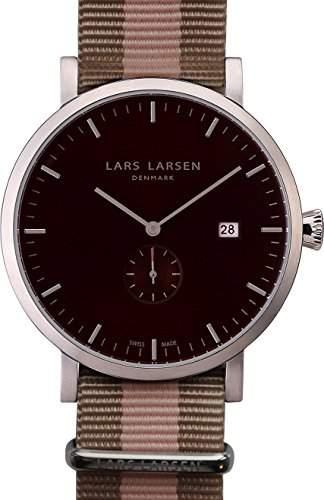 Lars Larsen Sebastian MenHerren Quarzuhr mit schwarzem Zifferblatt Analog-Anzeige und Textilband 131SBSN multicolor