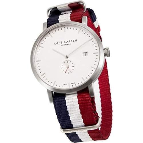 Lars Larsen Sebastian Herren Quarz-Uhr mit weissem Zifferblatt Analog-Anzeige und Stoff-Gurt 131SWAN