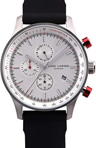 Lars Larsen MenQuarz-Uhr mit weissem Zifferblatt Analog-Anzeige und Schwarz-Silikon-Buegel 133SWBS