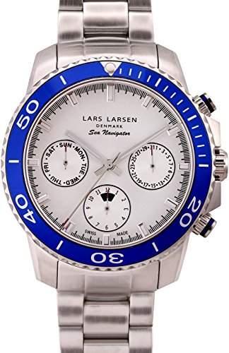 Lars Larsen Sea Navigator MenQuarz-Uhr mit weissem Zifferblatt Analog-Anzeige und Silber-Edelstahl-Armband 134SSDSB