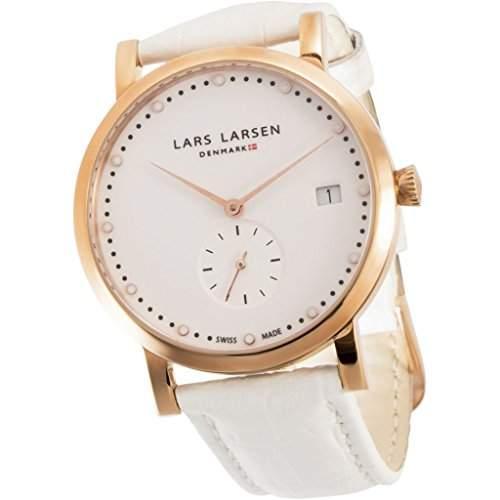 Lars Larsen Emma WomenQuarz-Uhr mit weissem Zifferblatt Analog-Anzeige und weisse Lederband 137RWWL