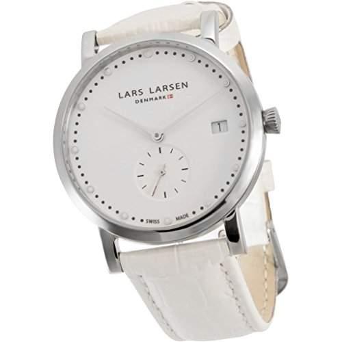 Lars Larsen Emma WomenQuarz-Uhr mit weissem Zifferblatt Analog-Anzeige und weisse Lederband 137SWWL
