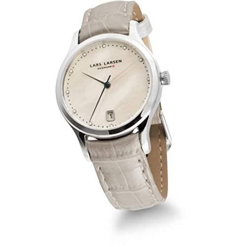 Lars Larsen Clara Women- Armbanduhr Pearl Dial Analog-Anzeige und weisse Lederband 139SMPL