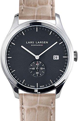 Lars Larsen Ayo Unisex Quarzuhr mit Grau Dial Analog Anzeige und Grau 129SGSL Lederband