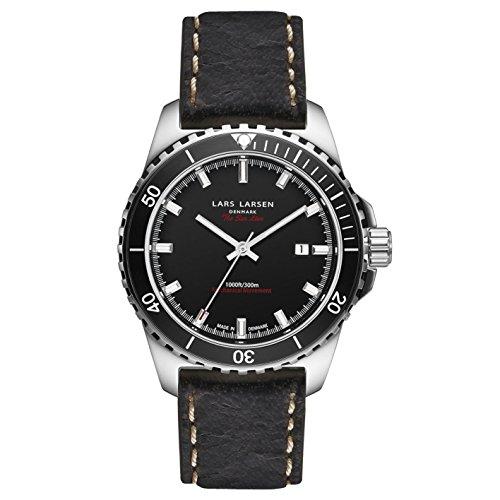 Lars Larsen Sea Lion Herren Automatik Uhr mit schwarzem Zifferblatt Analog Anzeige und braunem Lederband 150sbdbl