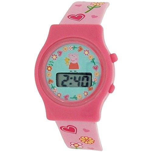 Peppa Pig Maedchen Digital Datumsuhr mit Silikon Schnallenarmband PP010