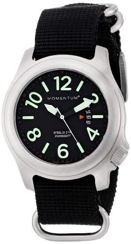 Momentum® Herren-Armbanduhr STEELIX Analog Nylon Schwarz 1M-SP74B7B