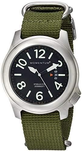 Momentum Herren-Armbanduhr STEELIX Analog Nylon Gruen 1M-SP74B7G