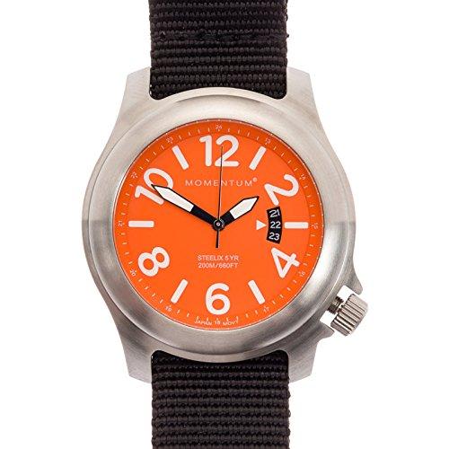 Momentum menS Nylonband steelix Web Nato Field Uhr Zifferblatt orange 2fblack