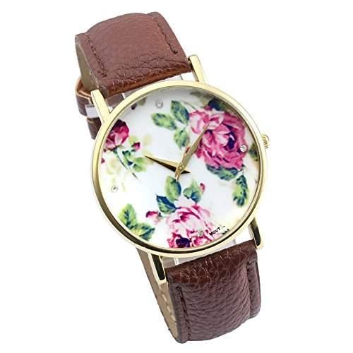 SSITG Uhr Vintage Rosen Retro Blume Damen Armbanduhr Basel-Stil Quarzuhr Lederarmband Uhr watch Geschenk Gift 03