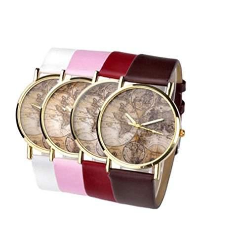 SSITG Uhr Vintage Weltkarte Herren Damen Armbanduhr Quarzuhr Lederarmband Uhr Top Geschenk *kaffee*