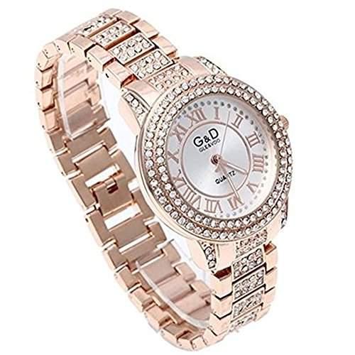 SSITG Uhr Armbanduhr Damen Armreifuhr Quarzuhr Armkette Uhr mit Strass Rosegold Watch Gift Geschenk
