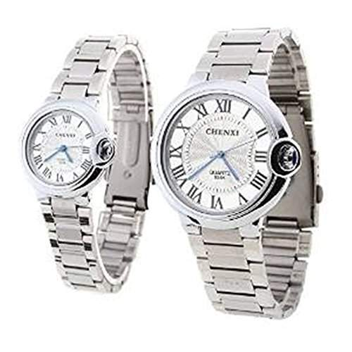 SSITG Partneruhr Herren Uhr Damenuhr Armbanduhr Liebespaar Quarzuhr Edelstahl Armband Uhr Watch Geschenk Gift
