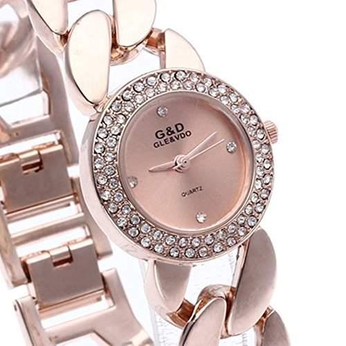 SSITG Damenuhr Armbanduhr Quarzuhr Armband Quarzuhren Armkette Uhr Strass Rosegold Geschenk Gift Watch