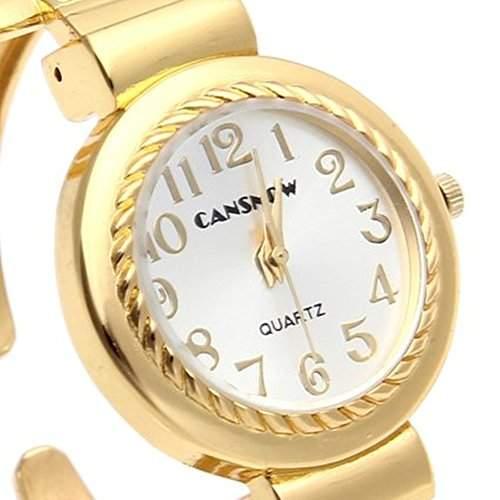 SSITG Uhr Damen Armreifuhr Spangenuhr Armbanduhr Quarzuhr Watch Analog Legierung Goldfarbe Geschenk Gift Watch