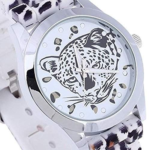 SSITG Armbanduhr Damen Damenuhr Quarzuhr Leopard-Muster Silikon Armband Uhr Geschenk Gift Watch