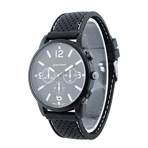 SSITG Armbanduhr Herren Herrenuhr Silikon LED Edelstahl Uhr Digital Quarzuhr Sportuhr