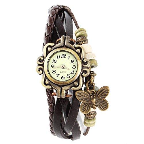 SSITG Damen Uhr Armbanduhr Damenuhren Quarzuhren Wickeluhr Lederarmbanduhr Armband PU watch Geschenk Gift SS 1