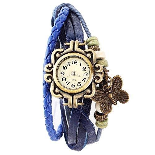 SSITG Damen Uhr Armbanduhr Damenuhren Quarzuhren Wickeluhr Lederarmbanduhr Armband PU watch Geschenk Gift SS 4