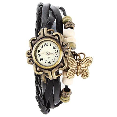 SSITG Damen Uhr Armbanduhr Damenuhren Quarzuhren Wickeluhr Lederarmbanduhr Armband PU watch Geschenk Gift SS 5