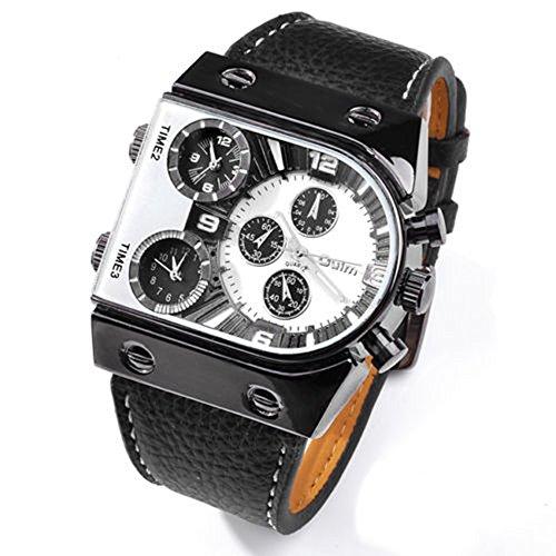 SSITG Armbanduhr Uhren Uhr Sport Multifunktion Chrono Lederuhr Rechteck 2
