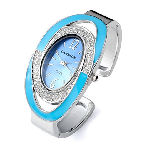 SSITG Damen Armbanduhr Oval Nebelfleck Quarzuhr Damenuhr Armband SPANGENUHR GESCHENK 005